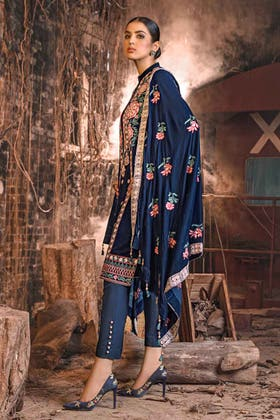 3PC Unstitched Velvet Embroidered Suit WV-12002