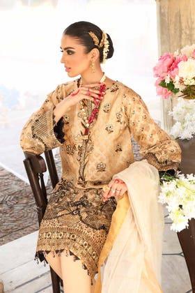 3 PC Unstitched Embroidered Jacquard Suit with Zari Organza Jacquard Dupatta FE-12006