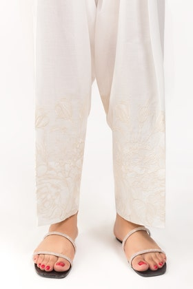Off White Cotton Embroidered Shalwar TR-21-02