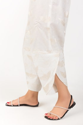 Off White Cotton Embroidered Trousers TR-21-07