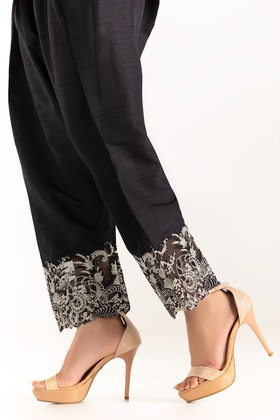 Black Embroidered Raw Silk Trouser TR-21-18