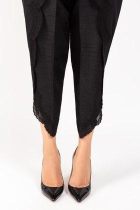 Black Rawsilk Pants - TR-21-19