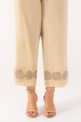 Beige Embroidered Cambric Trousers TR-21-28