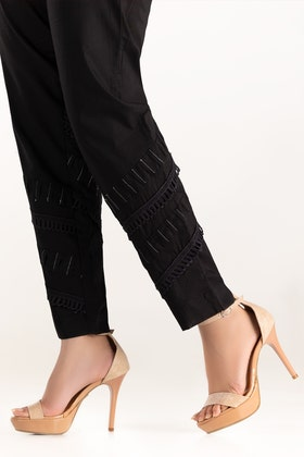 Black Embroidered Cambric Trousers TR-21-35