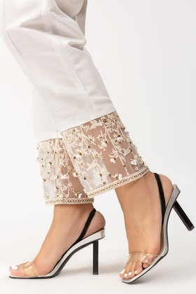 White Embroidered Raw Silk Pants TR-21-55
