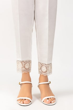 White Embroidered Raw Silk Pants TR-21-56