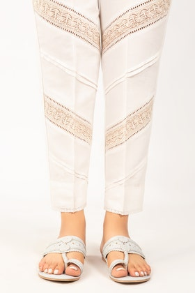 White Embroidered Raw Silk Trouser TR-21-77