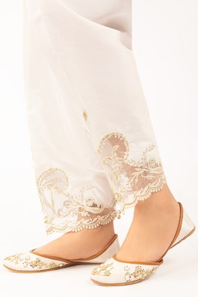 White  Embroidered Raw Silk Trouser TR-21-78