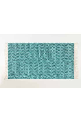 Turquoise Red Yarn Dyed Rug