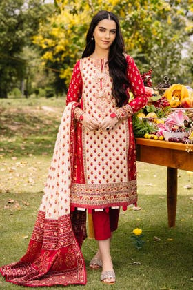 2PC Digital Embroidered Cambric Shirt With Lawn Dupatta TCE-12007