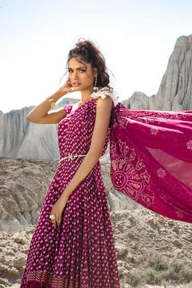 3PC Unstitched Chunri Lawn Suit With Gold Printed Lawn Dupatta CL-1205 A