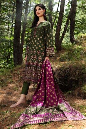 2PC Unstitched Digital Printed Khaddar Suit TK-12014 A