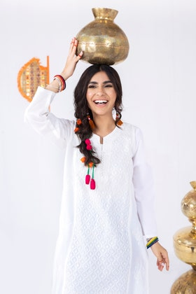 Cambric Embroidered Shirt with Digital Printed Embroidered Shalwar WGK-LWS-DE-148