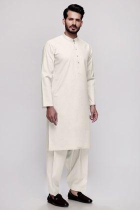 Off White Unstitched Fabric Tehzeeb