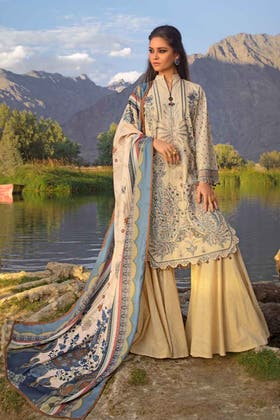 3PC Unstitched Khaddar Embroidered Suit With Poly Viscose Dupatta PVS-12017