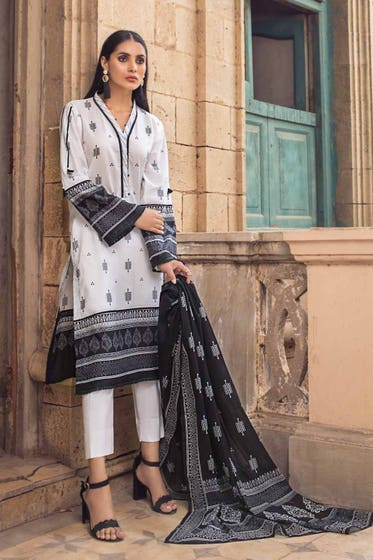 3PC Unstitched Printed Lawn Suit With Lawn Dupatta B-12011