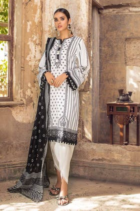 3PC Unstitched Printed Lawn Suit With Lawn Dupatta B-12009
