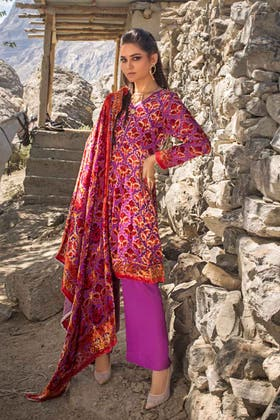 3PC Unstitched Velvet Suit With Velvet Dupatta BVL-12012 A