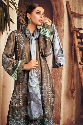 3PC Unstitched Digital Printed Corduroy Suit with Cotton Net Dupatta CD-12015 B