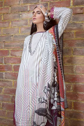 3PC Unstitched Embroidered Khaddar Suit with Digital Printed Dupatta K-12031