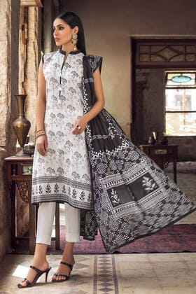 3PC Unstitched Printed Lawn Suit With Lawn Dupatta B-12002