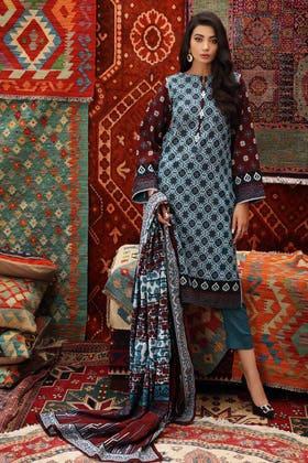 3PC Unstitched Printed Khaddar Suit K-12025 B