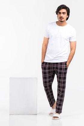 Mens Henley & Plaid Sleep Pants Pajama Set WG-LW-21-05 C