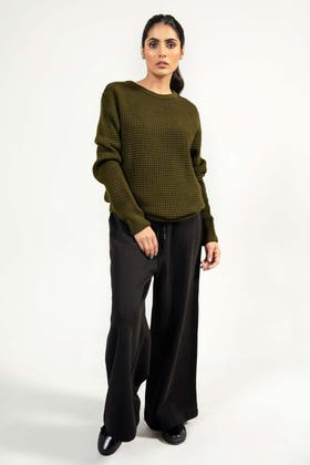Soft Acrylic Crew Neck Sweater WG-SWT-W21-007 C
