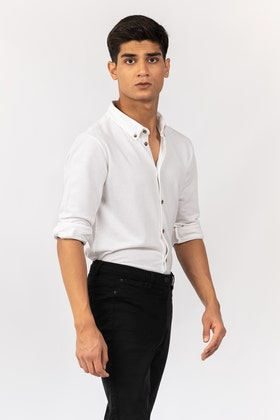 White Knitted Casual Shirt FS-CS-KNIT-D11