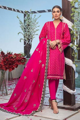 3PC Unstitched Lawn Screen Printed Suit With Embroidered Lawn Dupatta - FE-12230 - MASTANI