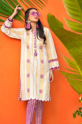 2 PC Unstitched Gold Lacquer Printed Lawn suit TL-355 A