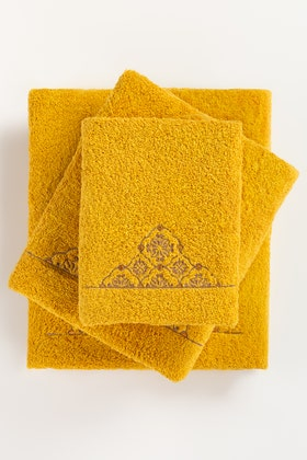 Yellow Combed 3Pc Embroidered Towel Set