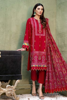 3PC Unstitched Lawn Embroidered Suit With Embroidered Chiffon Dupatta PM-422
